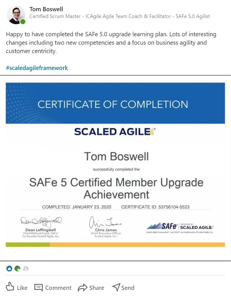 SAFe 5.0 Upgrade certification