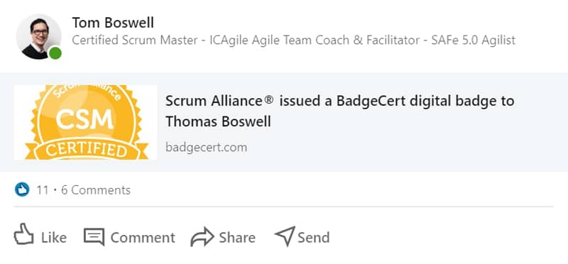 Tom Boswell Certified Scrum Master badge