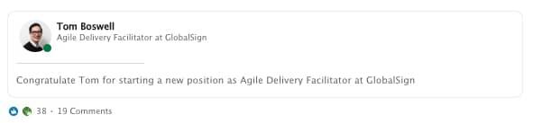 GlobalSign Agile Delivery Facilitator post